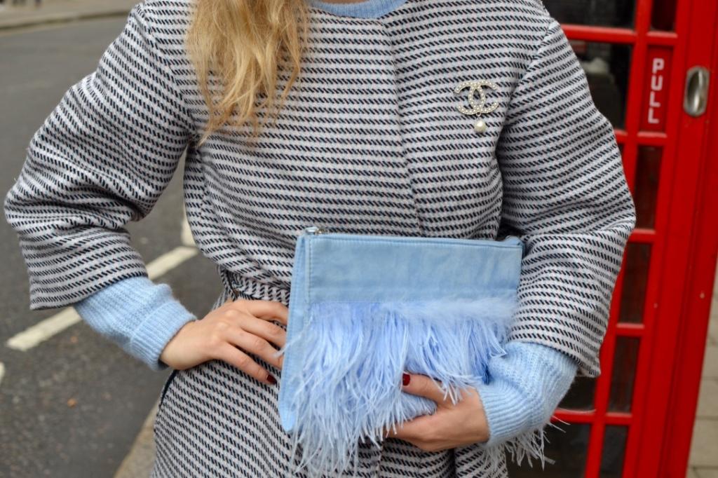 babyblue sweater madamedaniel london chanel brooch